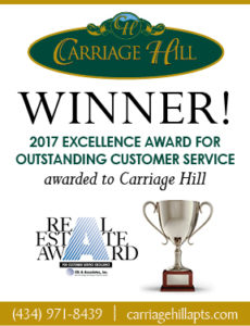 Carriage Hill Won 2017 Excellence in Customer Service Award